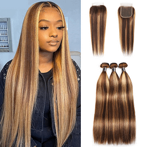 Brazilian Highlighted Straight Human Hair Bundles With Closure