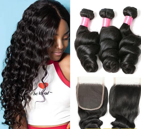 Brazilian Human Hair Loose Wave 3 Bundles With Closure