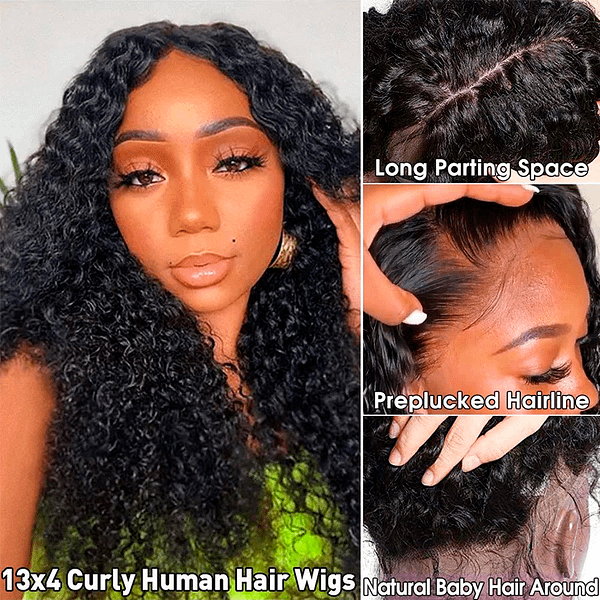 Remy Brazilian Curly HD Transparent 4x4 Lace Closure Human Hair Wig