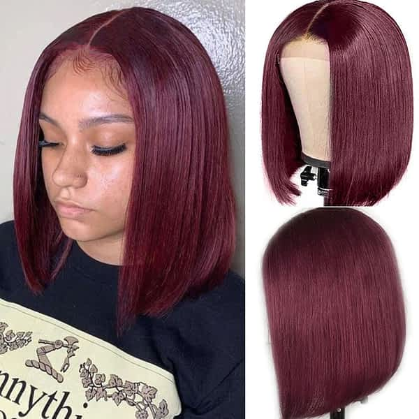 Brazilian Straight Lace Front Bob Human Hair Wigs with Lace Closure